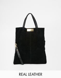 ASOS Foldover Suede and Leather Shopper Bag Asos 0ed601eecb3