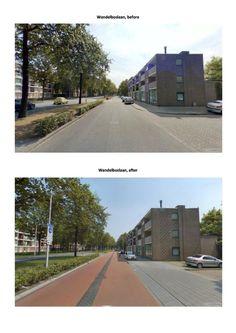 Herinrichting hoofdrijbaan + parallelweg. Opgave hoofdrijbaan: 1) verlagen snelheid. 2) tegengaan inhalen. Resultaat: 1) lagere snelheden. 2) niet meer inhalen. 3) groenere uitstraling. Opgave parallelweg: 1) toepassen hoofdfietsroute. 2) tegengaan fout parkeren. Resultaten: 1.) fietsstraat. 2) verbeterde parkeersituatie. 3) lagere snelheid. 4) groenere uitstraling. Uitdagingen: 1) verkoop ontwerp (fietsstraat). 2) haaks parkeren bij school
