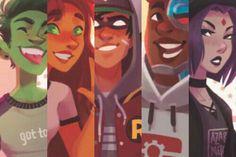 Teen Titans dc comics fan art watercolor sketch // beast boy starfire Robin c. Teen Titans Fanart, Teen Titans Go, Character Drawing, Comic Character, Robin Starfire, Original Teen Titans, Arte Dc Comics, Marvel Comics, Beast Boy