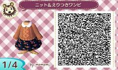Animal Crossing New Leaf ( ACNL ) QR Codes Floral Print Skirt and beige cable knit sweater