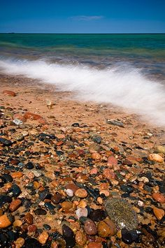 Whitefish Point, Lake Superior, Michigan by Mark Graf. Went rock hunting there with my mother many summers. My sister and I would get into the freezing water and splash each other to detour the flies from biting us. State Of Michigan, Northern Michigan, Lake Michigan, Michigan Accent, Wisconsin, Michigan Vacations, Michigan Travel, Places To Travel, Places To See