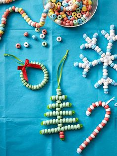 Craft edible #ornaments from candy necklaces to add a sweet touch to your #Christmas tree.