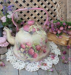 """Купить """"Там ,где клевер пахнет медом..."""" чайник - кремовый, розовый, бежевый, клевер"""