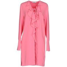 Dondup Short Dress (150,695 KRW) found on Polyvore featuring women's fashion, dresses, fuchsia, mini dress, pink long sleeve dress, long sleeve short dress, long sleeve v neck dress and shirt dress