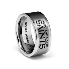 8mm Tungsten Band with Flat Edge and Brushed Finish NFL Football New Orleans Saints Logo Laser Engraved Ring
