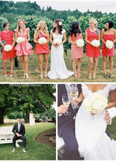 Bridesmaid dresses - different shades of coral and different styles too! (love this idea)