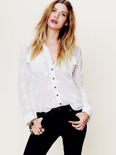 Free People Star Embroidered Buttondown, $128.00