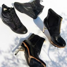 Elegant meets technical. Check out these all black feminine @y-3 footwear silhouettes. #adidas #Y3 #heels #wedges