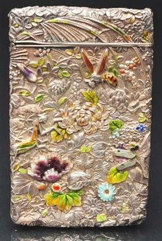 Victorian Calling Card Case,  Sterling silver and enamel work