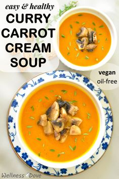 This super healthy vegan cream soup recipe is delicious and nutritious. Whole food, plant based ingredients and it is made with no oil! Not to mention how easy and quick it is to prepare.A saver when you don't have many ingredients in the fridge! And a super tasty saver, it is!The slightly sweet taste of carrots mixes perfectly with the curry powder taste and aroma.#healthyrecipes #veganrecipes #plantbased #nooil #wholefoodvegan Whole Foods Vegan, Whole Food Recipes, Vegan Recipes, Vegan Stew, Vegan Soups, Clean Eating Recipes, Healthy Eating, Eat To Live Diet, Cream Soup Recipes