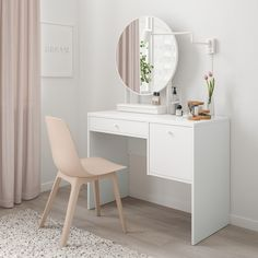 When it's time to get ready in the morning, have a seat at SYVDE dressing table. The clean, simple design is easy to place and the two drawers put make-up, accessories and hair supplies within easy reach. Dressing Table Design, Dressing Tables With Mirror, Dressing Table Ideas Ikea, Dressing Table Vanity, Design Table, Design Design, Interior Design, Painted Drawers, Large Drawers