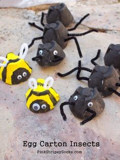 make egg carton insects (bees and ants and caterpillars) easy and fun craft Insect Crafts, Bug Crafts, Crafts To Do, Arts And Crafts, Stick Crafts, Resin Crafts, Easy Crafts For Kids, Summer Crafts, Toddler Crafts