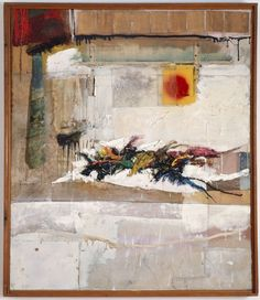 Robert Rauschenberg - 1956, Rhyme.  Combine: oil, fabric, necktie, paper, enamel, pencil, and synthetic polymer paint on canvas (122.6 x 104.5 cm) MOMA
