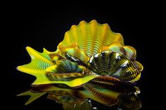 Chihuly Chrome Yellow Persian Set with Cerulean Lip Wraps, blown glass
