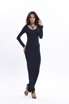 00119ef6e582 2016 New Women Autumn Polyester Dress Casual Full Sleeve Ankle Length Long  Maxi Beach Dresses bodycon Vestido O-Neck S-XL