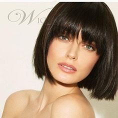 Beautiful Smooth Short Straight Bob Wig 100% Human Hair With Full Bangs About 8 Inches