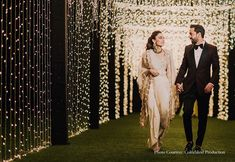 Fairylights Decor at Wedding Off White Saree, Entrance Decor, Engagement Outfits, Wedding Wear, Bridal Style, Wedding Styles, Real Weddings, Blues, Groom