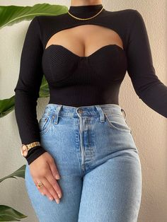 Teen Fashion Outfits, Look Fashion, Girl Outfits, Cute Casual Outfits, Stylish Outfits, Pretty Outfits, Black Bodysuit Outfit, Mode Ootd, Vetement Fashion