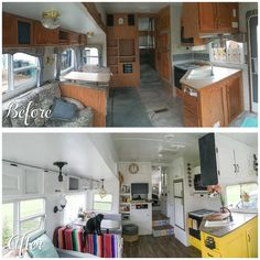 a before and after photo of a camper renovation the main living space