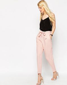 ASOS | ASOS Woven Peg Pants with OBI Tie at ASOS