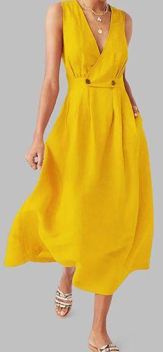 Women Summer Dress Robe Femme Women VNeck Pure Color Vest Sleeveless Button Easy Sandy Beach Dress Vestidos Verao Size S Color Black Yellow Dress Casual, Yellow Dress Summer, Yellow Midi Dress, Casual Dresses, Fashion Dresses, Midi Dresses, Dance Dresses, Short Dresses, Elegant Summer Dresses