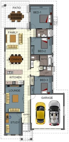 COSMO-2 - Grady Homes Floor Plan Design. 3 bedroom, 2 bathroom, study/office, theatre lounge, double garage, internal laundry