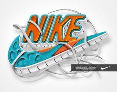 Nike - Futura logo by Marcelo Schultz, via Behance - Typography Design Modelling Design Nike, Logo Design, Jordan Logo Wallpaper, Nike Wallpaper, Monkey Wallpaper, 3d Logo, Nike Logo, Old Nikes, Handy Wallpaper