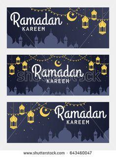 Vector set of Ramadan Kareem horizontal banner, with lantern and Mosque. Ramadan Kareem ads, flyer, invitation, greeting card. Islamic background.