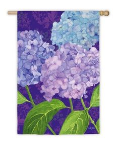"""Purple Passion Hydrangeas House Flag by House Impressions. $19.99. Made of high quality fabric materials. Spot clean only. Line dry.. Fade-resistant colors. Approximate dimensions are 29"""" x 43"""". Hand-crafted and easy to hang. Flags are the greeting card of your home! Add a piece of colorful and welcoming décor to your outdoor setting with one of these flags. Made of durable materials, the vibrant colors in this flag will last for years to come. A perfect outdoor accent f..."""
