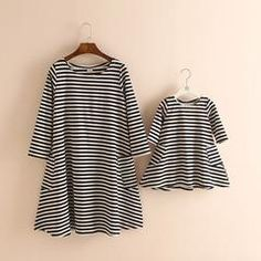 Toddler Baby Girls/Womens Striped Dress Long Sleeve Mother And Daughter Clothes Mother Daughter Dresses Pajamas Girl Clothes