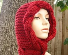 Knit Hat Womens Hat  Red Cable Scarf Hat in Red by pixiebell