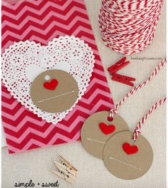 Valentine Ideas - These handmade heart gift tags are really cute. What ever you decide to buy or make for your loved one this valentines day, you can add these tags for a beautiful rustic look.