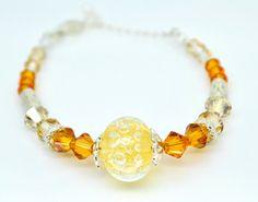 Orange Bracelet Yellow Lampwork Bracelet Crystal by SudsNSparkles, £7.50