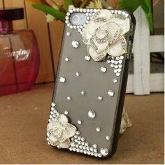 I MUST HAVE THIS!!!!!  3D Bling Crystal iPhone Case for AT Verizon Sprint Apple iPhone 4\ 4S White Camellia BLK