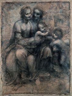 Léonard de Vinci, la Vierge à l'Enfant avec sainte Anne et saint Jean-Baptiste