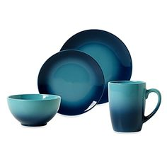 Ombre Blue Dinnerware is hand decorated with two-tone vibrant colors to provide a bright and colorful solution for everyday dining. Stoneware is perfect for casual dining and withstands the rigors of everyday use. Blue Dinnerware, Blue Ombre, Teal, Purple, Dish Sets, Budget, My Dream Home, Bedding Shop, Kitchen Items