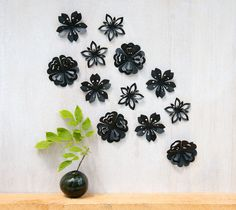 Wall Decor Flowers Black Blossoms Popup Set of by StudioLiscious, $20.00. Either white in the bedroom or bathroom or black in the dining room