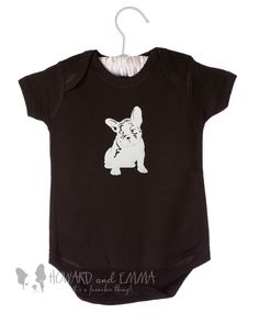 Black Onesie with French Bulldog Puppy - Bodysuit by HOWARDandEMMA on Etsy https://www.etsy.com/listing/215588617/black-onesie-with-french-bulldog-puppy