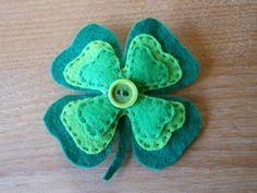 Shamrock Felt Brooch Four Leaf Clover Good Luck by allneedlesgreat, £8.00