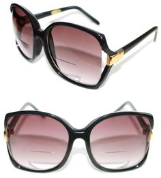 8dc8f2f42e1 Women s True Vintage Thick Boho Square Bifocal Reading Sunglasses Black  Gold  Unbranded