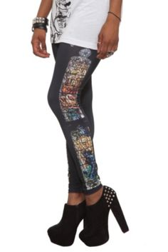 Teenage Runaway Cathedral Tuxedo Leggings - Unblack casual