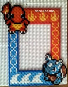 Pokemon photo frame hama perler beads by deco.kdo.nat