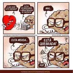 """6,649 curtidas, 168 comentários - Guilherme Bandeira (@guilherme_bandeira) no Instagram: """"Acontece (muito)... #paciencia #razao #emocao #coracao #cerebro #quadrinhos #desenhos #charges…"""""""