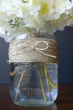 Twine and Mason Jar Add as part of a mix  match centerpiece theme...where nothing matches but everthing goes together! Sunflower Centerpieces, Mason Jar Centerpieces, Mason Jars, Wedding Knot, Wedding Wishes, Fall Wedding, Wedding Bells, Reception Party, Couple Shower
