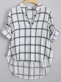 V Neck Checked High Low Blouse – Checked S – Fashion is my Profession Cute Blouses, Shirt Blouses, Blouses For Women, Sexy Bluse, Womens Trendy Tops, Two Piece Swimwear, Plaid Fashion, Trendy Fashion, Embroidered Blouse