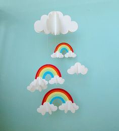 Rainbows and Clouds 3-D Hanging Baby Mobile by Gosh & Golly ...