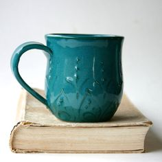 Pottery Mug Ceramic Coffee Cup Deep Dark Teal by BackBayPottery, $32.50 --- Gorgeous slip-trailing technique!