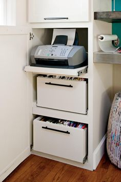 Hidden storage - hide ugly printers and stacked paper away out of sight as it looks messy! Helps keep it nice and tidy and tucked out the way in a shelved cabinet