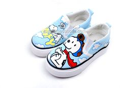 Anime Snoopy Cartoon hand Painted Slip on Canvas Shoes,Low-top Painted Canvas…