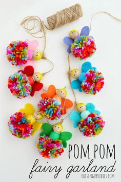Pompom fairy garland, this is cute for teens and pre-teens craft time and a fun way to introduce sewing skills to kids. This would look adorable strung as a garland in a girl's room or even as a decoration on a gift wrap.